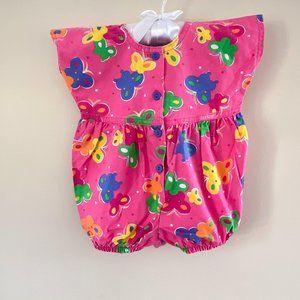 Vintage OshKosh B'Gosh Pink Butterfly Romper 3-6 M